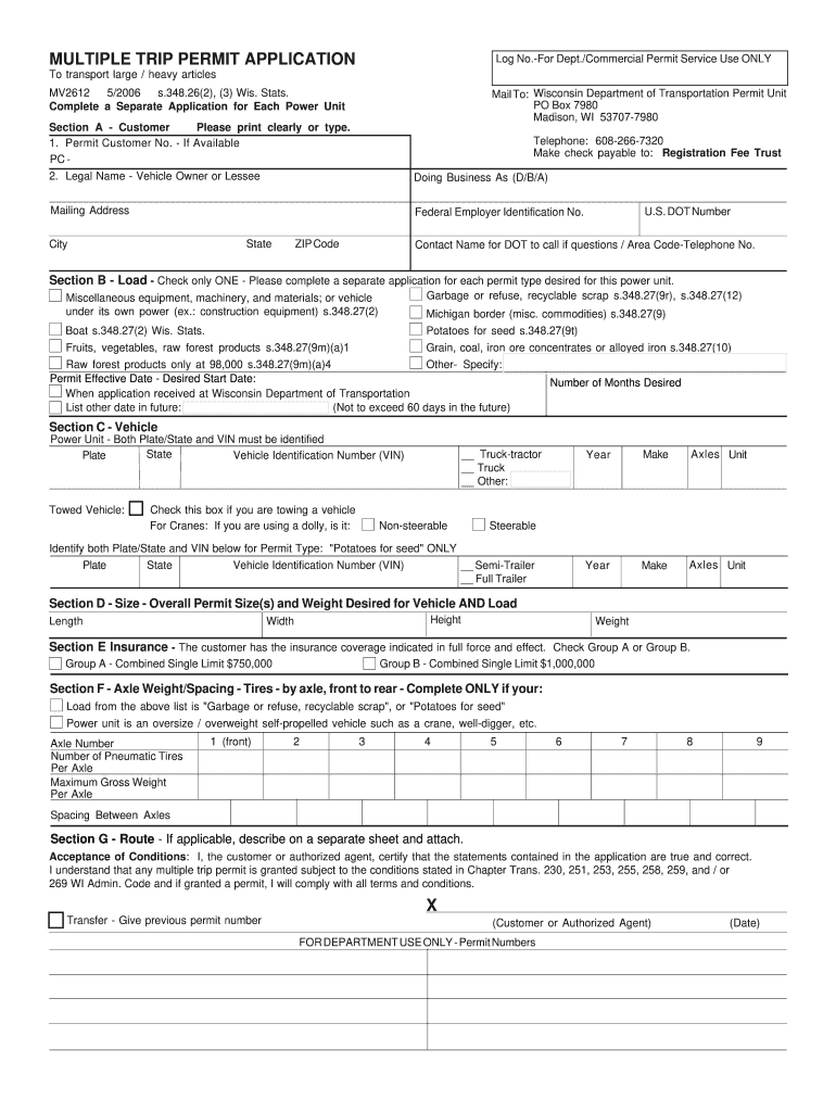 Get And Sign Wisconsin Dot Mv2612 2006-2021 Form