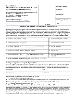 Get And Sign State Of California Non Profit Recognition Application Form