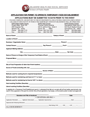 Get And Sign Temp Food Permit Form