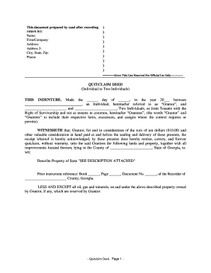 quick claim deed form georgia  Quit claim deed georgia form - Fill Out and Sign Printable ...