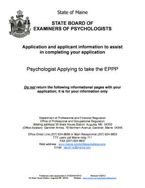 State of Maine BOARD OF EXAMINERS OF PSYCHOLOGISTS - maine form