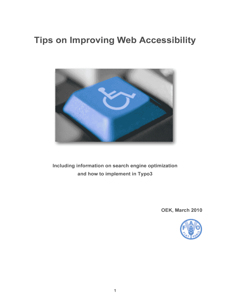Get And Sign Tips On Improving Web Accessibility  Web Guide  FAO  Webguide Fao Form