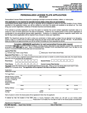 Nevada personalized license form - Fill Out and Sign Printable PDF
