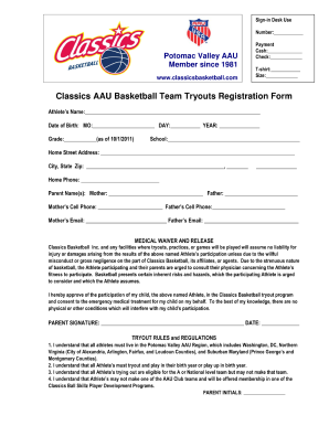 Basketball Application Fill Out And Sign Printable Pdf