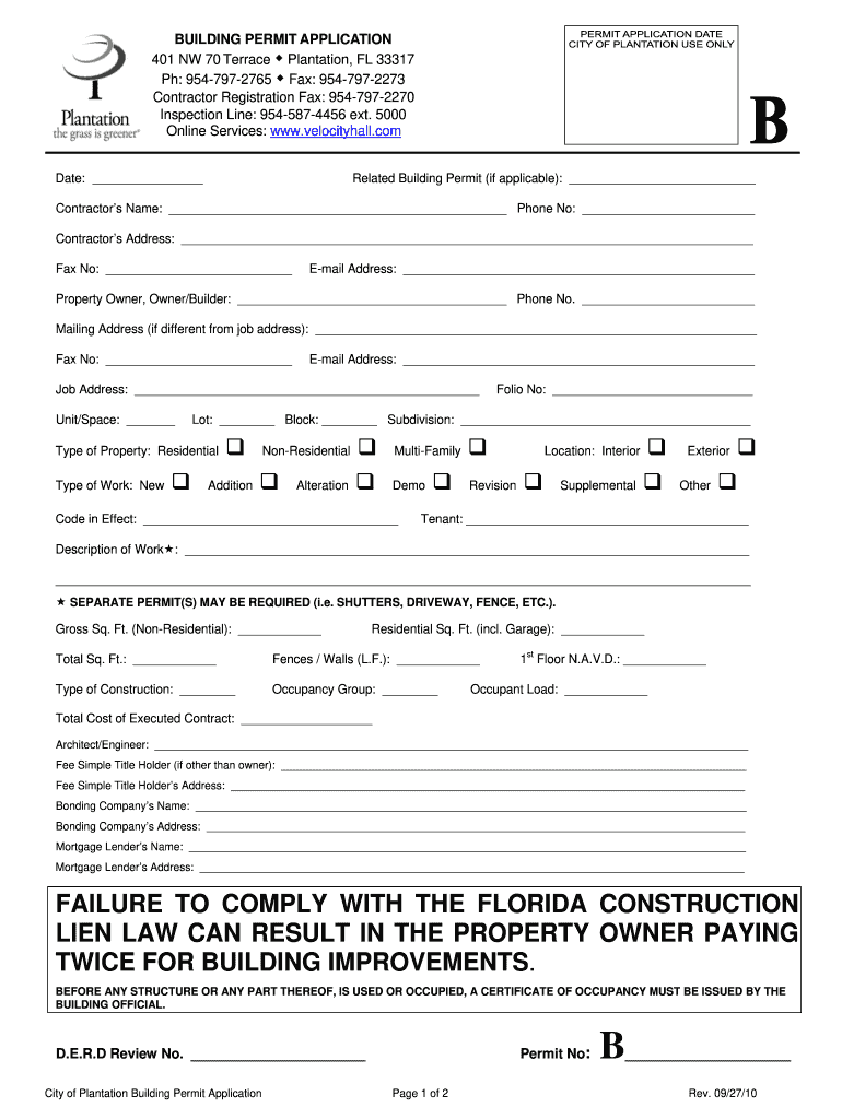 Plantation building permit - Fill Out and Sign Printable ...