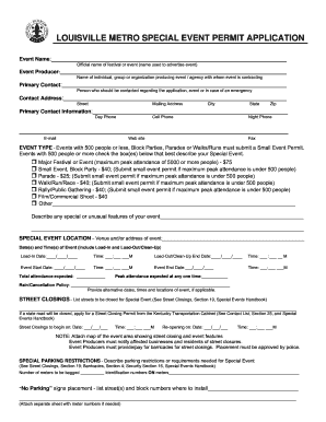 Get And Sign LOUISVILLE METRO SPECIAL EVENT PERMIT APPLICATION - Louisvilleky Form