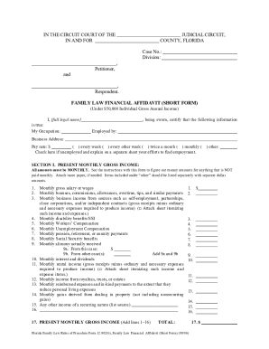 Financial affidavit short form online fillable - Fill Out and Sign