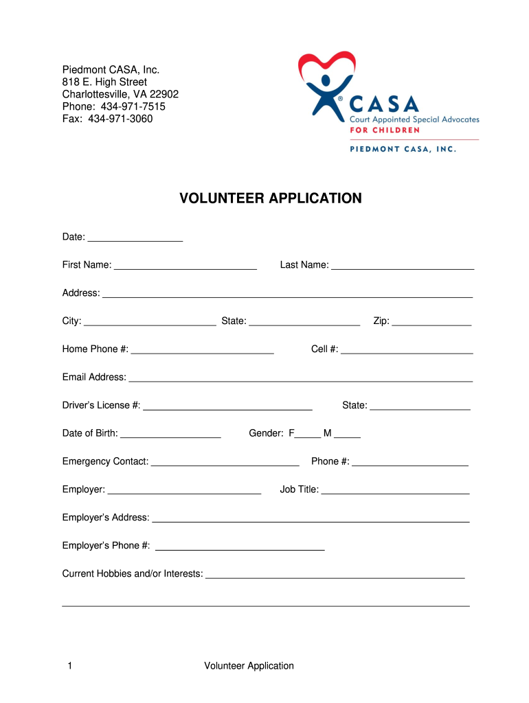 Get And Sign Volunteer Application  Piedmont CASA  Pcasa Form
