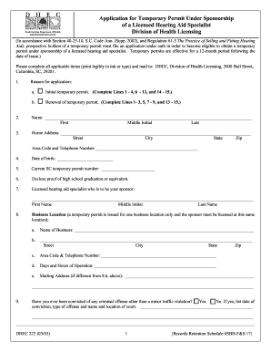 Get And Sign Application For Temporary Permit Under Sponsorship Of A Licensed ... - Dhec Sc Form