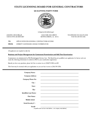 Get And Sign Construction License Qualifier Alabama Form