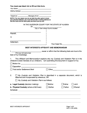 Affidavit of best interest format - Fill Out and Sign