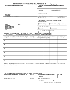 Emergency Equipment Rental Agreement State Of Alaska