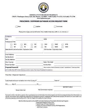 Get And Sign Prescriberdispenser Database Access Request Form