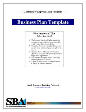 Sba Business Plan Template Fillable Form Fill Out And Sign