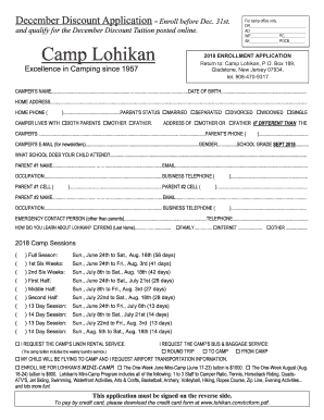 Get And Sign Camper Application Camp Lohikan 2018-2021 Form