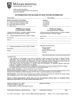 Mclean Hospital Medical Records Fax Form Fill Out And Sign