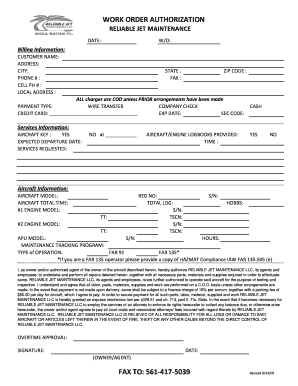Work Order Authorization Fill Out And Sign Printable Pdf Template Signnow