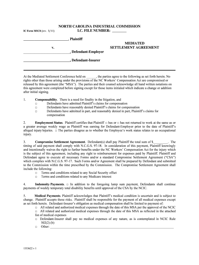 Get And Sign Form MSC8  North Carolina Industrial Commission  Ic Nc