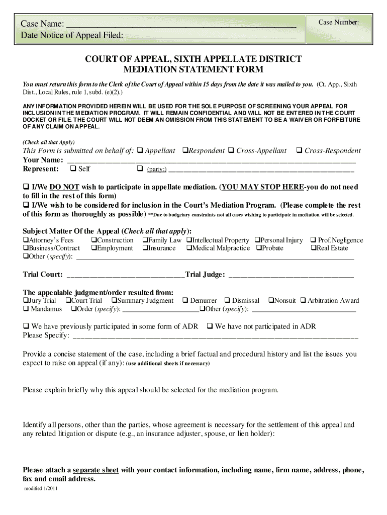 Mediation Statement Fill Out And Sign Printable Pdf Template Signnow