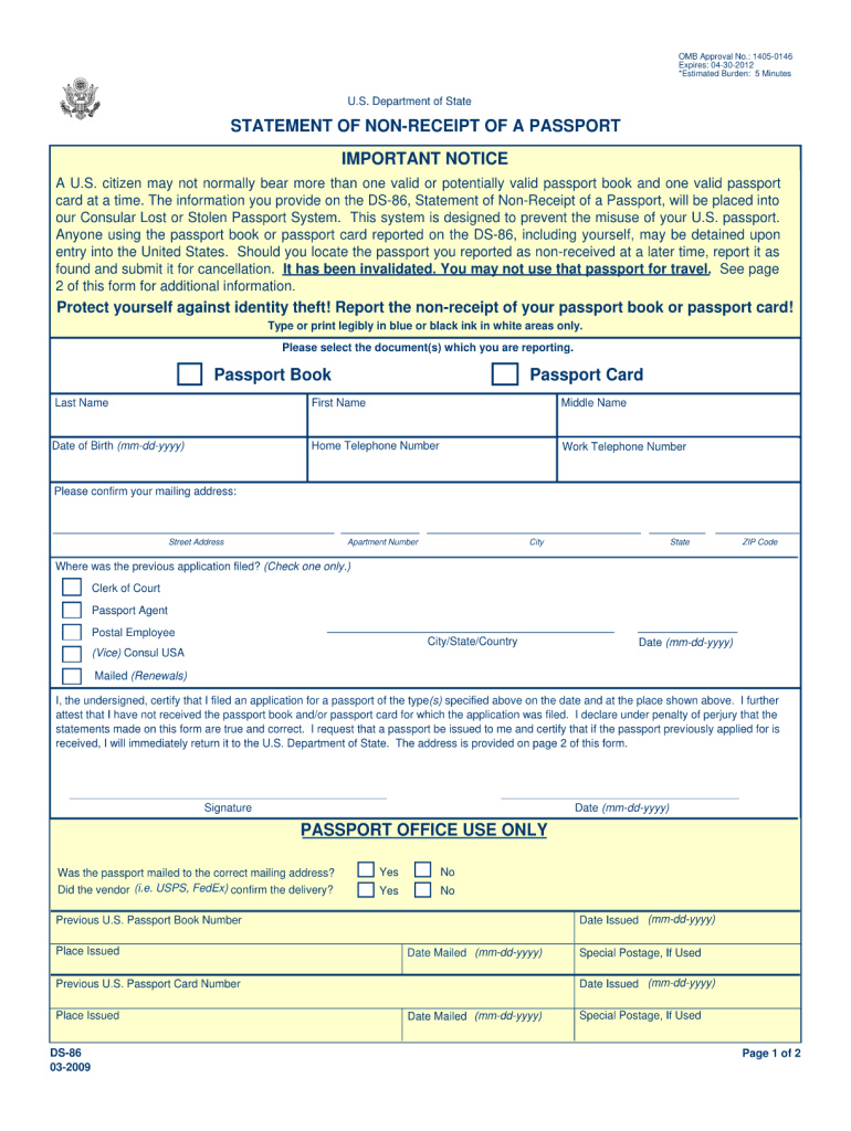 Get And Sign DS 86 Statement Of Non Receipt Of A Passport  Ace Passport Services Form