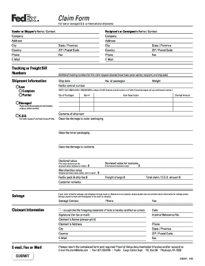 Fedex Claim Form Fill Out And Sign Printable Pdf Template Signnow