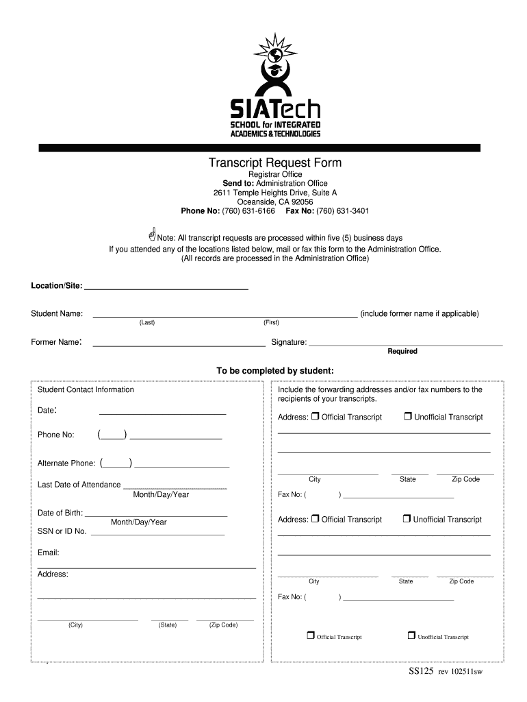 Get And Sign Transcript Request Form  SIATech  Siatech