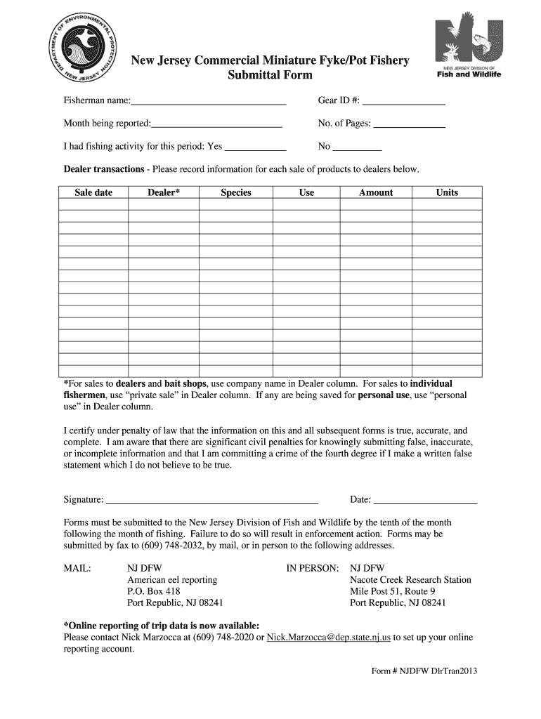 Get And Sign New Jersey Commercial Miniature FykePot Fishery Submittal Form  Nj