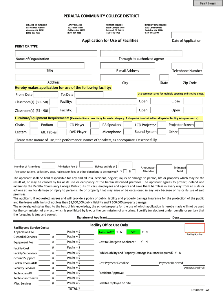 Get And Sign Facilities Usage Application  Laney College  Laney Form