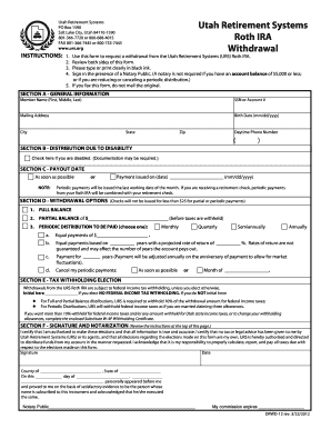 Utah Retirement Systems Roth IRA Withdrawal - urs form - Fill Out