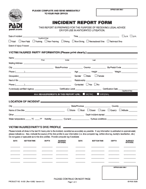 Padi Incident Report Form Fill Out And Sign Printable Pdf Template