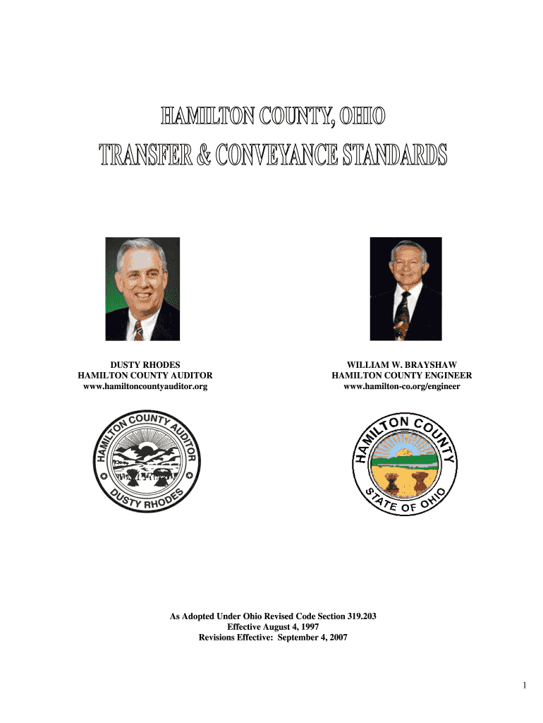 Get And Sign Transfer & Conveyance Standard  Hamilton County, Ohio  Hamiltoncountyohio Form