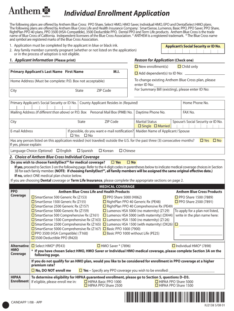 Get And Sign Anthem Blue Cross Application Form 2008-2021