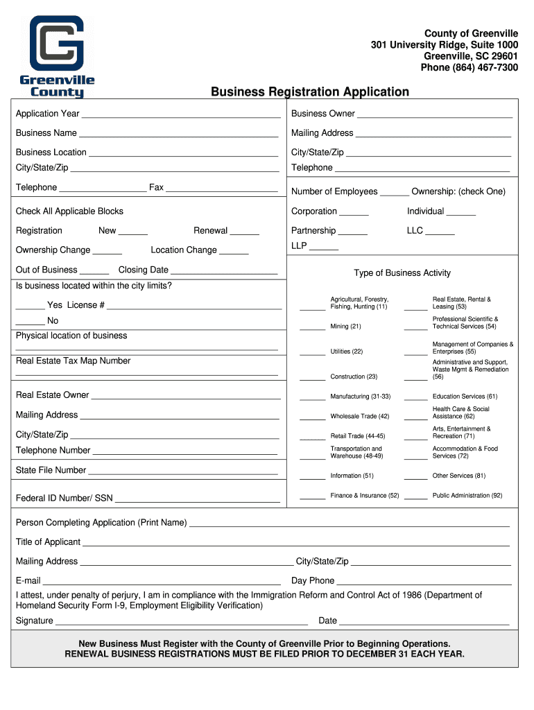 Get And Sign County Of Greenville Business Registration Form