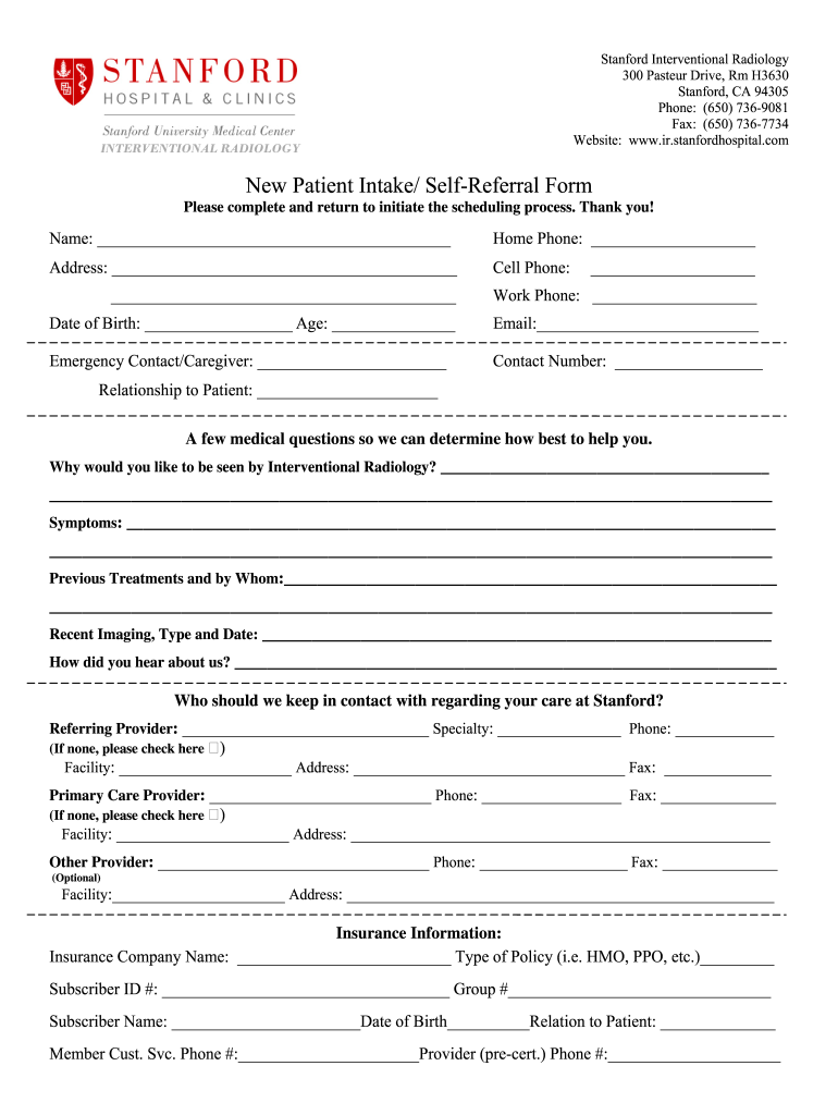 Get And Sign New Self Referral Form