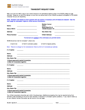 Get And Sign Dcccd Transcript Request Form
