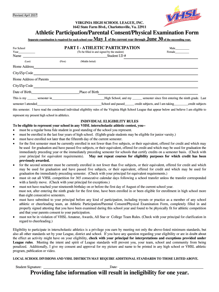 Get And Sign Revised April VIRGINIA HIGH SCHOOL LEAGUE, INC Form