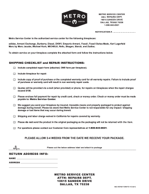 Metro Service Center >> Metro Service Center Watch Repair Diesel Form Fill Out And Sign