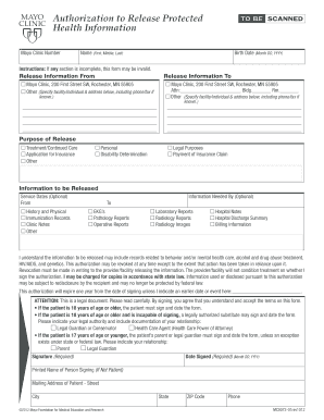 Mayo Clinic Records Request Form Fill Out And Sign