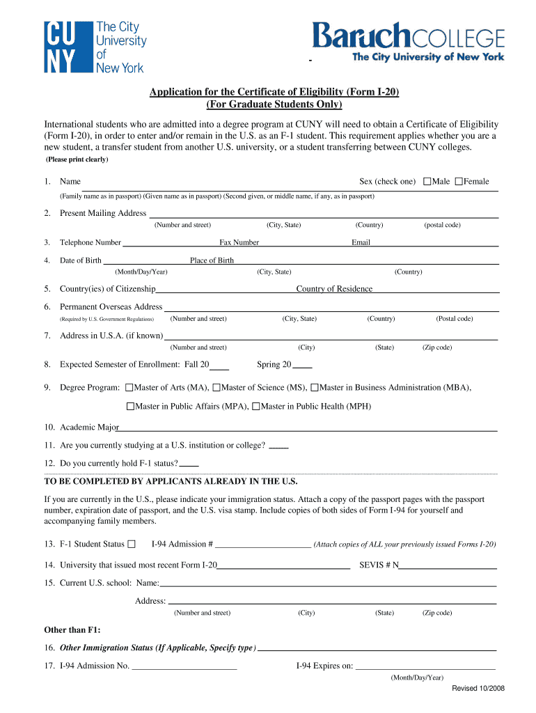 Get And Sign Baruch College Transcript Form 2008-2021
