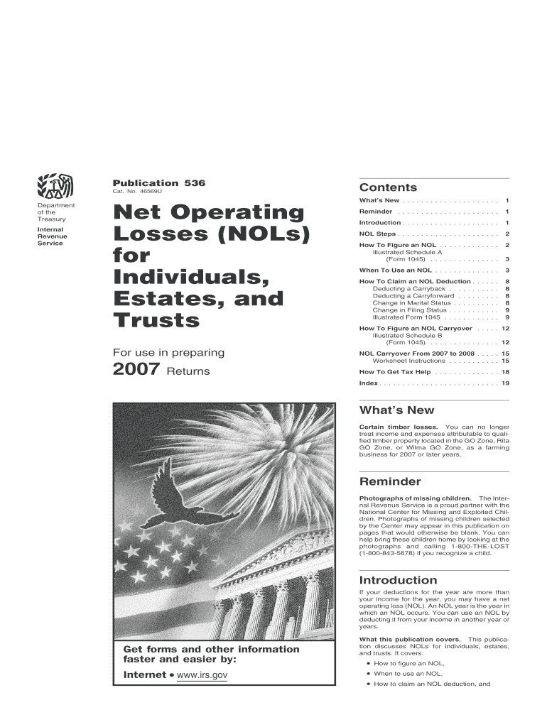 Get And Sign Publication 536 Net Operating Losses Form