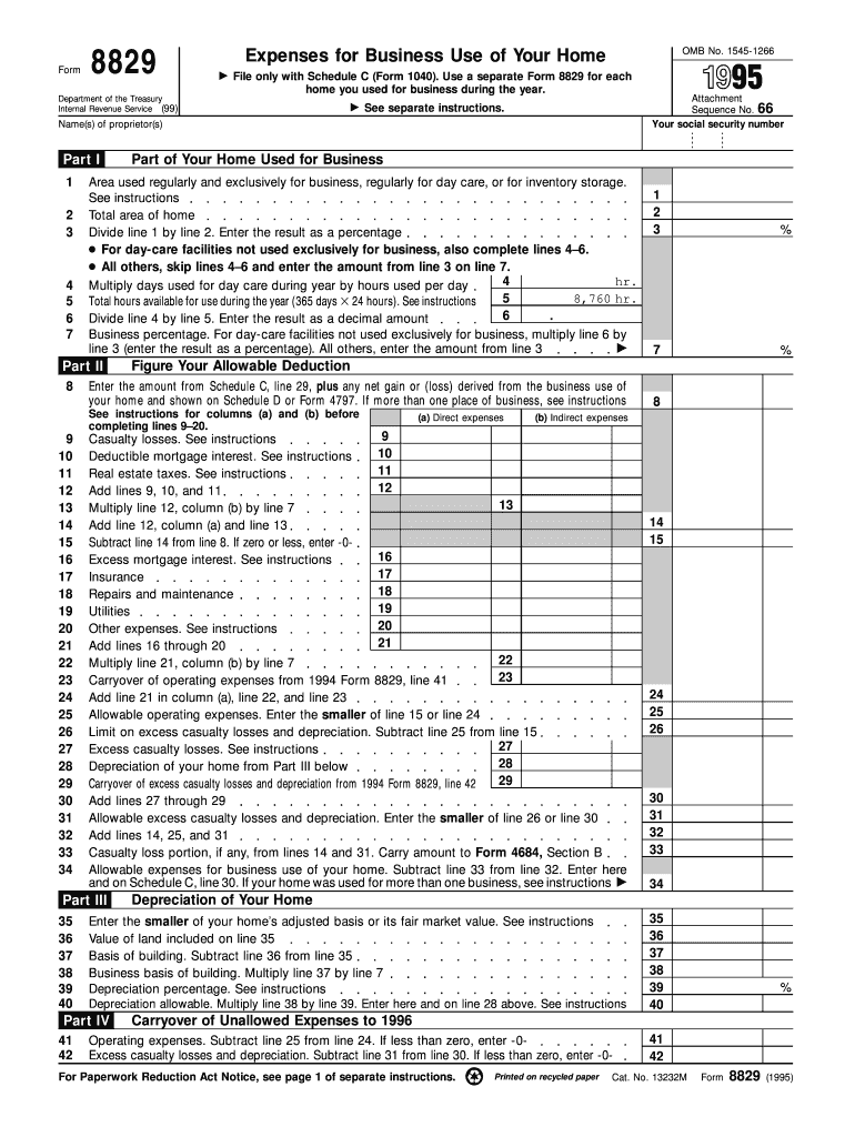 Get And Sign Form 8829 Expenses For Business Use Of Your Home