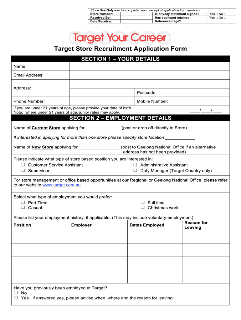 Target Application Pdf Fill Out And Sign Printable Pdf Template Signnow