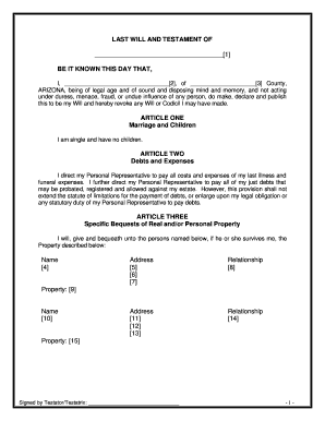 Arizona Last Will And Testament Online Fill Out And Sign