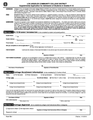 Get And Sign Form Ys 1 Los Angeles Community College District 2010-2021