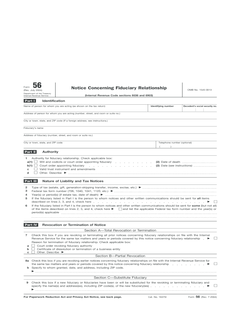 Get And Sign Irs Form 56