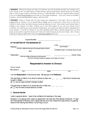 image about Printable Divorce Papers for Texas identified as Solution texas divorce variety - Fill Out and Signal Printable PDF