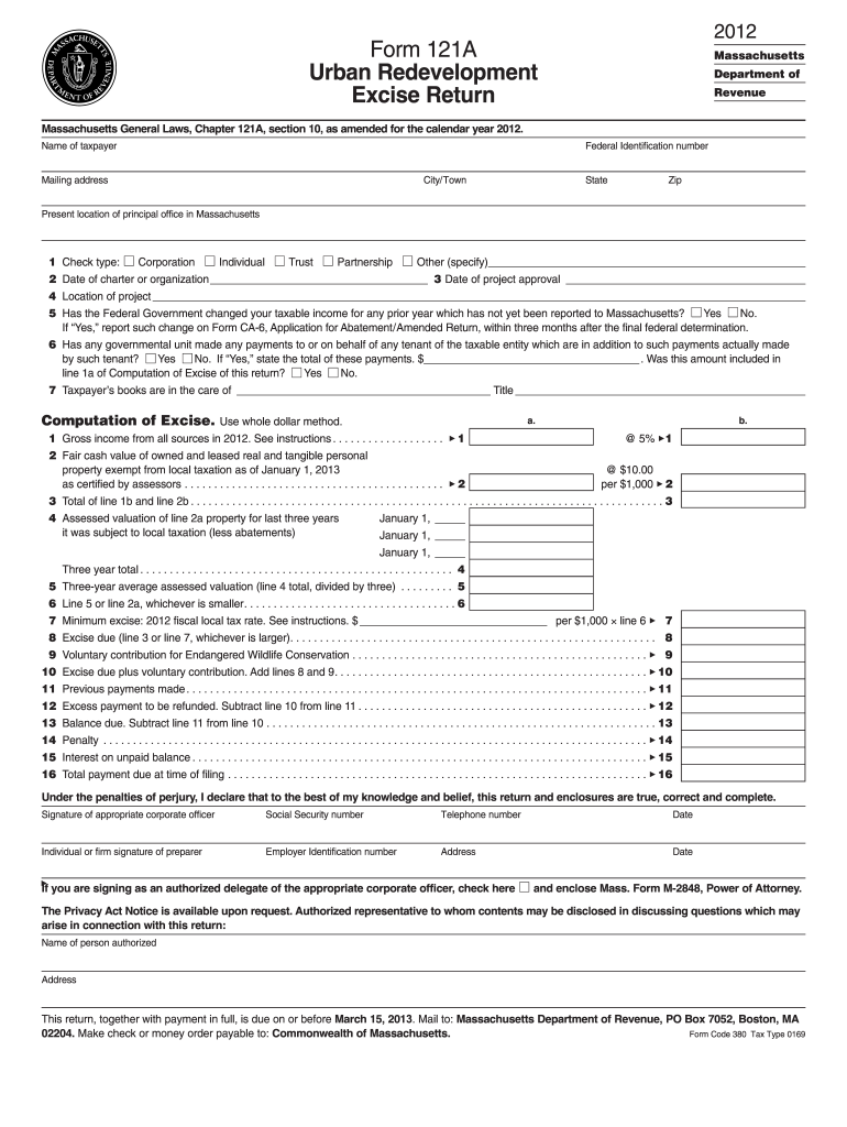 Get And Sign 121a Return  Form 2012-2021