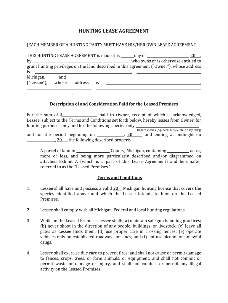 Michigan Hunting Lease Agreement Fill Out And Sign Printable Pdf Template Signnow