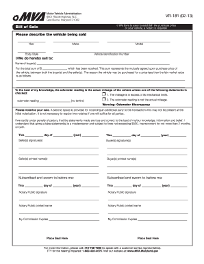 Mva Bill Of Sale Form Fill Out And Sign Printable Pdf