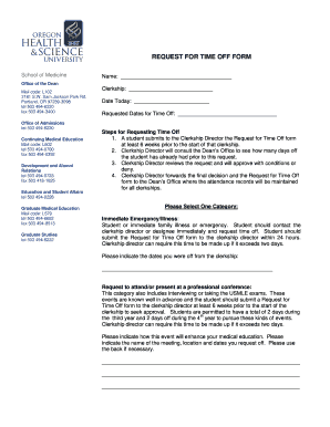 Time Off Request Forms   Time Off Request Form Ohsu Signnow Fill Out And Sign Printable